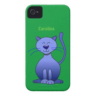 Cute Happy Blue Smiling Cat Custom Name Skin Case-Mate iPhone 4 Cases