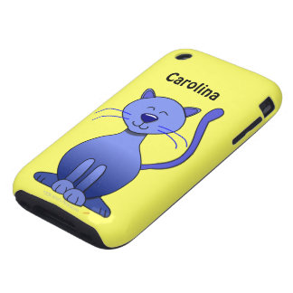 Cute Happy Blue Smiling Cat Custom Name Skin iPhone 3 Tough Case