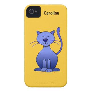 Cute Happy Blue Smiling Cat Custom Name Skin iPhone 4 Cover