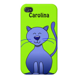 Cute Happy Blue Smiling Cat Custom Name Skin iPhone 4 Cases