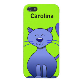 Cute Happy Blue Smiling Cat Custom Name Skin iPhone 5 Cover