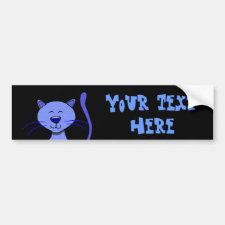 Cute Happy Blue Smiling Cat Picture Funny Template Bumper Stickers