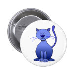 Cute Happy Blue Smiling Cat Picture Funny Template Buttons