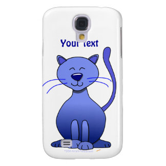 Cute Happy Blue Smiling Cat Picture Funny Template Galaxy S4 Case