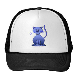 Cute Happy Blue Smiling Cat Picture Funny Template Mesh Hat