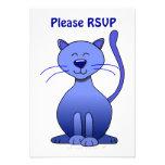 Cute Happy Blue Smiling Cat Picture Funny Template Custom Invitation