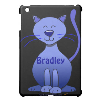 Cute Happy Blue Smiling Cat Picture Funny Template iPad Mini Cases
