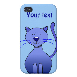 Cute Happy Blue Smiling Cat Picture Funny Template Case For iPhone 4
