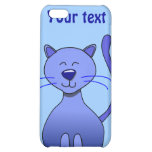 Cute Happy Blue Smiling Cat Picture Funny Template Cover For iPhone 5C