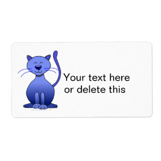 Cute Happy Blue Smiling Cat Picture Funny Template Label
