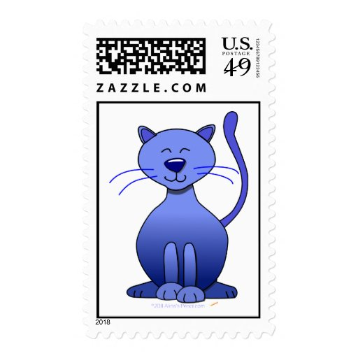 Cute Happy Blue Smiling Cat Picture Funny Template Postage Stamp