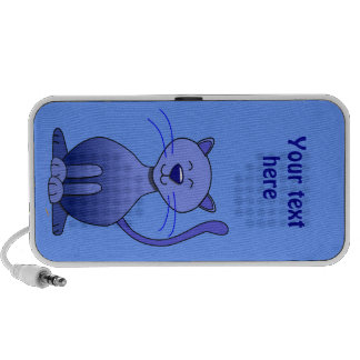 Cute Happy Blue Smiling Cat Picture Funny Template Travel Speaker