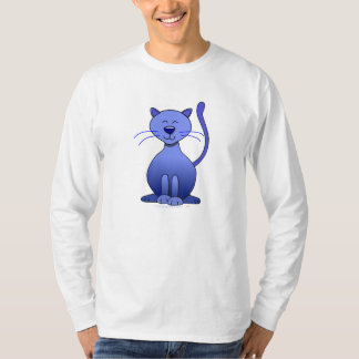 Cute Happy Blue Smiling Cat Picture Funny Template T-Shirt