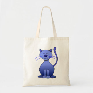 Cute Happy Blue Smiling Cat Picture Funny Template Tote Bag