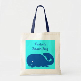 Cute Happy Blue Whale Beach Bag Kids Custom Name