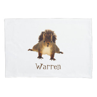 Cute happy brown squirrel add name pillowcase
