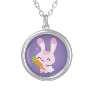 Cute Happy Bunny Rabbit Holding a Carrot Necklace