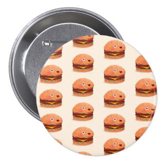 CUTE HAPPY BURGERS Large, 3 Inch Round Button