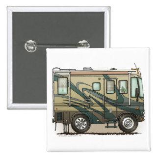 Cute Happy Camper Big RV Coach Motorhome 2 Inch Square Button