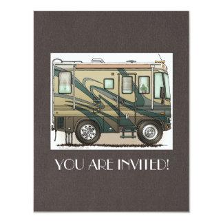 Cute Happy Camper Big RV Coach Motorhome 4.25x5.5 Paper Invitation Card
