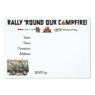 Cute Happy Camper Big RV Coach Motorhome 5x7 Paper Invitation Card