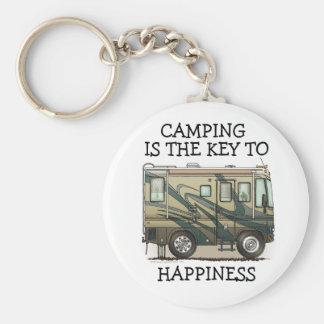 Cute Happy Camper Big RV Coach Motorhome Basic Round Button Keychain