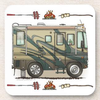 Cute Happy Camper Big RV Coach Motorhome Beverage Coaster