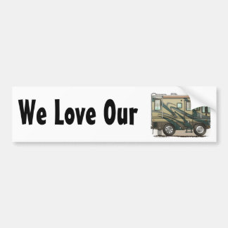 Cute Happy Camper Big RV Coach Motorhome Bumper Sticker