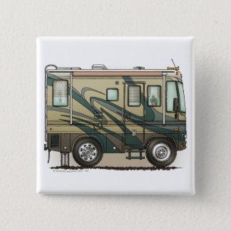 Cute Happy Camper Big RV Coach Motorhome Button