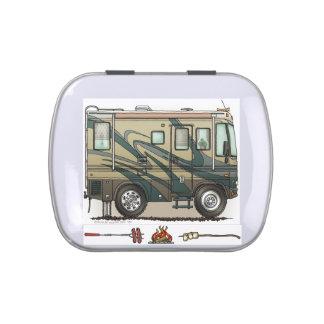 Cute Happy Camper Big RV Coach Motorhome Jelly Belly Tins