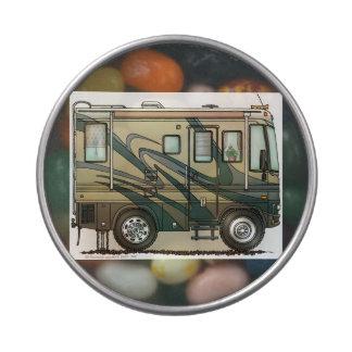Cute Happy Camper Big RV Coach Motorhome Jelly Belly Candy Tins