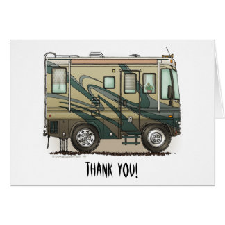Cute Happy Camper Big RV Coach Motorhome Card
