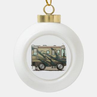 Cute Happy Camper Big RV Coach Motorhome Ceramic Ball Christmas Ornament