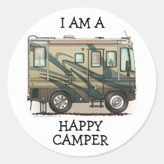 Cute Happy Camper Big RV Coach Motorhome Classic Round Sticker