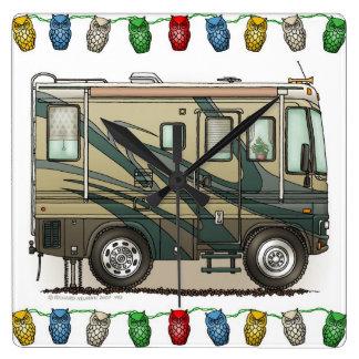Cute Happy Camper Big RV Coach Motorhome Square Wallclock