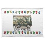 Cute Happy Camper Big RV Coach Motorhome Cloth Place Mat