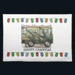 "Cute Happy Camper Big RV Coach Motorhome Cloth Placemat<br><div class=""desc"">Memories of camping last a lifetime! And so do those memories of your RV motorhome camper. These whimsical RV motorhome camper placemats are as cute as they can be:) This RV motorhome camper was designed by artist Richard Neuman. His uniquely styled vintage RV motorhome artwork is collected worldwide. You will...</div>"