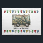 """Cute Happy Camper Big RV Coach Motorhome Cloth Placemat<br><div class=""""desc"""">Memories of camping last a lifetime! And so do those memories of your RV motorhome camper. These whimsical RV motorhome camper placemats are as cute as they can be:) This RV motorhome camper was designed by artist Richard Neuman. His uniquely styled vintage RV motorhome artwork is collected worldwide. You will...</div>"""