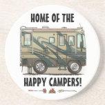 Cute Happy Camper Big RV Coach Motorhome Drink Coaster