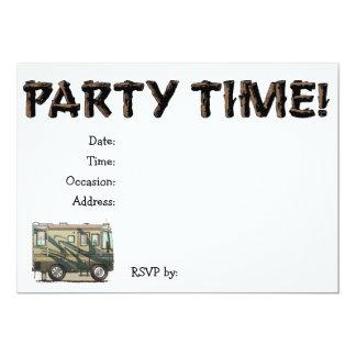 Cute Happy Camper Big RV Coach Motorhome Invitation