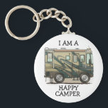 "Cute Happy Camper Big RV Coach Motorhome Keychain<br><div class=""desc"">Memories of camping last a lifetime! And so do those memories of your RV motorhome camper. These whimsical RV motorhome camper key chains are as cute as they can be:) This RV motorhome camper was designed by artist Richard Neuman. His uniquely styled vintage RV motorhome artwork is collected worldwide. You...</div>"