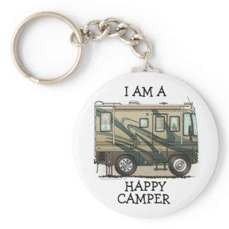 Cute Happy Camper Big RV Coach Motorhome Keychain