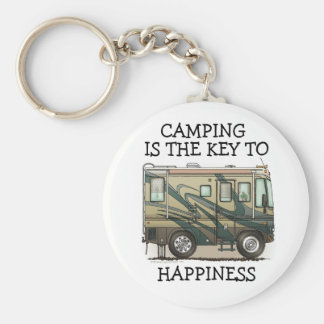 Cute Happy Camper Big RV Coach Motorhome Keychains