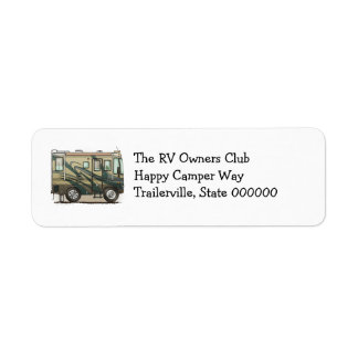 Cute Happy Camper Big RV Coach Motorhome Label