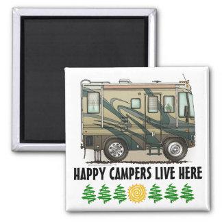 Cute Happy Camper Big RV Coach Motorhome 2 Inch Square Magnet