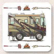 Cute Happy Camper Big RV Coach Motorhome (maroon) Drink Coaster
