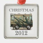 Cute Happy Camper Big RV Coach Motorhome Square Metal Christmas Ornament