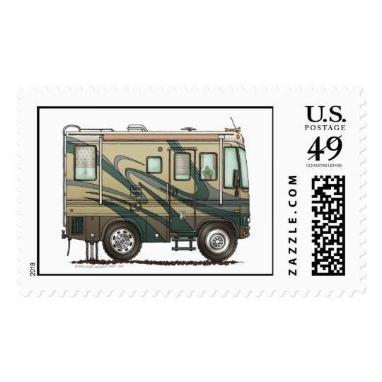 Cute Happy Camper Big RV Coach Motorhome Postage