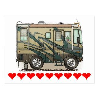 Cute Happy Camper Big RV Coach Motorhome Postcards