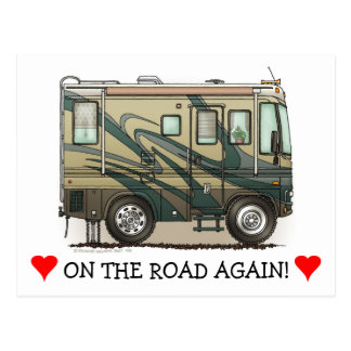 Cute Happy Camper Big RV Coach Motorhome Postcard